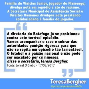 17/08/2017 - Jornal O Globo - Teresa Bergher, secretária de Assistência Social e Direitos Humanos, presta solidariedade a familia de jogador que sofreu ato de racismo. Saiba mais na matéria: https://glo.bo/2fRBnaw