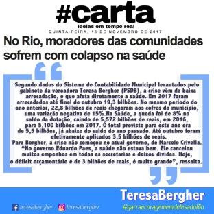 """16/11/17 - Carta - Segundo dados do Sistema de Contabilidade Municipal levantados pelo gabinete da vereadora Teresa Bergher (PSDB), a crise vêm da baixa arrecadação, o que afeta diretamente a saúde. Em 2017 foram arrecadados até final de outubro 19,3 bilhões. No mesmo período do ano anterior, 22,8 bilhões de reais chegaram aos cofres do município, uma variação negativa de 15%.Na Saúde, a queda foi de 8% no saldo da dotação, caindo de 5,572 bilhões de reais, em 2016, para 5,100 bilhões em 2017. O total previsto para este ano era de 5,5 bilhões, já abaixo do saldo do ano passado. Até outubro foram efetivamente aplicados 3,5 bilhões de reais. Para Bergher, a crise não começou no atual governo, de Marcelo Crivella. """"No governo Eduardo Paes, a saúde não estava bem. Ele cancelou muitos empenhos em todas as secretarias e deixou dívidas. Hoje, o déficit orçamentário é de 3 bilhões de reais, é muito grande"""", ressalta."""