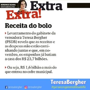 02/12/17 - Jornal Extra - Levantamento do gabinete da vereadora Teresa Bergher (PSDB) revela que as receitas e as despesas não estão caminhando juntas e que, em novembro, os empenhos já batiam a casa dos R$ 23,7 bilhões. Ou seja, R$ 1,6 bilhão a mais do que entrou no cofre municipal.