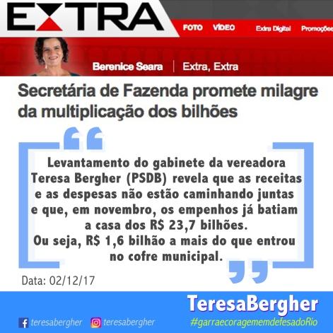 02/12/17 - Jornal Extra - ``Levantamento do gabinete da vereadora Teresa Bergher (PSDB) revela que as receitas e as despesas não estão caminhando juntas e que, em novembro, os empenhos já batiam a casa dos R$ 23,7 bilhões. Ou seja, R$ 1,6 bilhão a mais do que entrou no cofre municipal.``