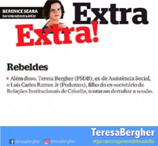 Jornal Extra - 01/12 - Além disso, Teresa Bergher (PSDB), ex-de Assistência Social, e Luís Carlos Ramos Jr (Podemos), filho do ex-secretário de Relações Institucionais de Crivella, tentaram derrubar a sessão.